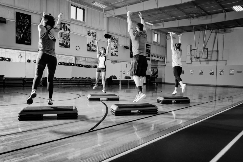 Aerobics class in a gymnasium