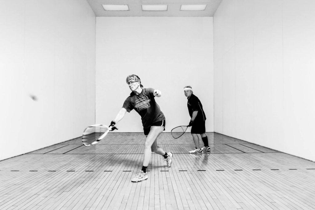 Racketball match in progress